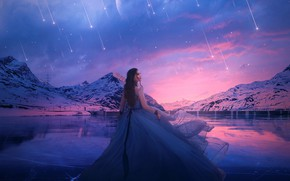 Picture look, mountains, lake, girl, the sky, dress, sunset