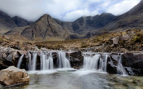 Picture mountains, waterfall, Scotland, Fairy Pools, Glenbrittle