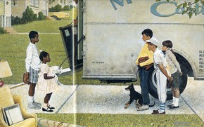 Picture children, dog, Illustration, white fluffy cat, Norman Rockwell, New Kids in the Neighbourhood 1967