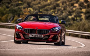 Picture red, BMW, Roadster, front view, BMW Z4, M40i, Z4, 2019, UK version, G29