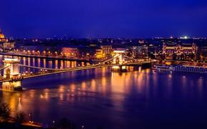 Picture night, lights, river, Parliament, panorama, Hungary, Budapest, The Danube, Chain bridge