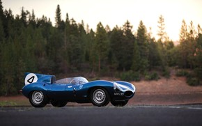 Picture Blue, Classic, Motorsport, Sports car, Jaguar D-Type