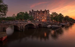 Picture sunset, the city, the evening, Amsterdam, Netherlands