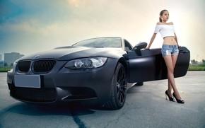 Picture auto, look, Girls, BMW, Asian, beautiful girl, posing