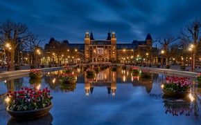 Picture Netherlands, Holland, blue hour, The Rijksmuseum