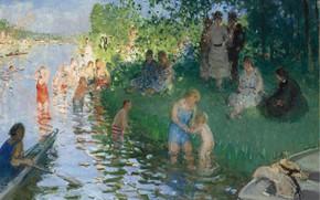 Picture picture, genre, Bathing, Pierre Eugène Montesin, Pierre-Eugene Montezin