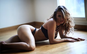 Wallpaper sexy, in swimsuit, posing, sexy girl, pop up, lying on the floor, Thom. H.