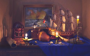 Picture ship, picture, candles, still life, globe, scroll, Valentina Fencing
