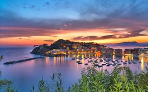 Picture sea, sunset, building, home, Bay, Italy, boats, Italy, Liguria, Liguria, Sestri Levante, Sestri Levante, Bay …