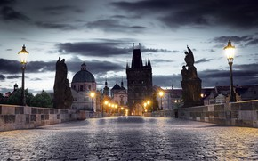 Picture the sky, clouds, bridge, lights, home, the evening, Prague, Czech Republic, lights, sculpture, Charles bridge