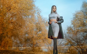 Picture autumn, leaves, water, trees, model, skirt, Girl, figure, blonde, Alexander Drobkov-Light, Carina Carina