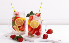 Picture ice, water, berries, strawberry, drink, lemons