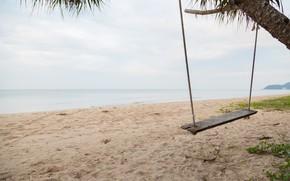 Picture sand, sea, wave, beach, summer, the sky, palm trees, swing, shore, summer, beach, sea, seascape, …