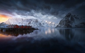 Picture the sky, clouds, light, mountains, clouds, rocks, home, Norway, the village, the fjord