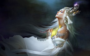 Picture decoration, the dark background, haze, closed eyes, fantasy art, jewelry, haze, closed eyes, dark background, …