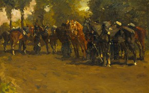 Picture oil, picture, canvas, 1885, Georg Hendrik Breitner, George Hendrik Breitner, Cavalleria on vacation