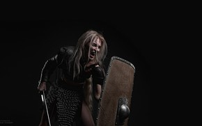 Picture Girl, Sword, Shield, Gladiator, Gladius