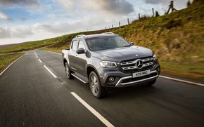 Picture movement, Mercedes-Benz, pickup, 2017, X-Class, dark gray, UK-version