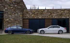 Picture white, house, lawn, BMW, profile, hybrid, 5, dark blue, 2017, 5-series, G30, sedans, M550i xDrive, …