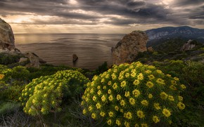 Picture sea, landscape, mountains, clouds, nature, rocks, coast, vegetation, Italy
