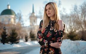 Picture winter, look, girl, nature, pose, hair, dress, beautiful, bokeh, Ashley Booth, Sergey Zhirnov