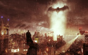 Picture Night, The city, Light, Rain, Costume, Building, Hero, Cloak, Symbol, Character, Rocksteady Studios, Batman Arkham …