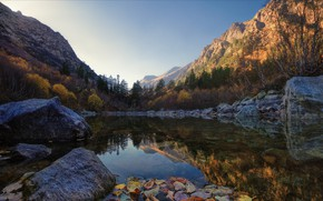 Picture autumn, leaves, trees, mountains, lake, stones, Bank, boulders, Dombay, KCR, Agoranov Alex