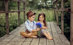 Picture flowers, nature, children, feelings, boy, friendship, girl, friends, a bunch, cornflowers, mostok, Victoria Dubrovskaya