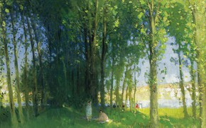 Picture landscape, picture, Pierre Eugène Montesin, Pierre-Eugene Montezin, The Loing at Saint-Mames