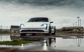 Picture Porsche, White, Turbo S, Reflection, Electric, Taycan