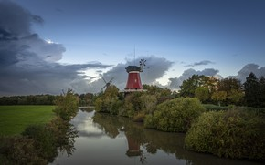 Picture landscape, nature, Germany, mill, river