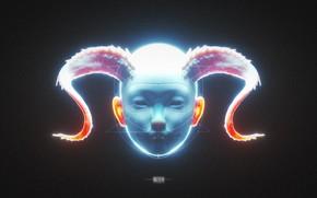 Picture face, figure, horns, blue color, OOZIUM