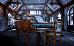 Picture fish, aquarium, chair, hall, piano, desolation
