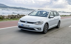 Picture road, coast, Volkswagen, universal, 2017, Golf Variant, white-gray