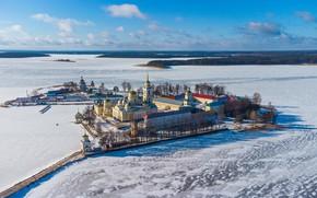 Picture winter, island, Russia, the monastery, Nilo-Stolobenskaya Pustyn', Nilova Pustyn, frozen lake, Stolobny Island, Lake Seliger, …