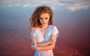 Picture water, girl, hair, dress, curls, Grigoriy Lifin, Zaslavska To Alina
