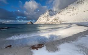 Picture winter, sand, sea, beach, clouds, snow, landscape, mountains, blue, stones, rocks, shore, winter, slope, Norway, …