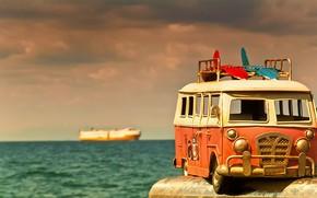 Picture sea, macro, toy, model, avtobusik
