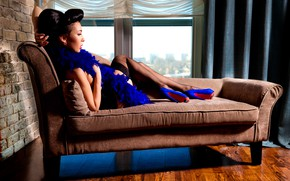 Picture girl, pose, sofa, stockings, window, shoes, hairstyle, boa, canapés