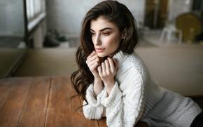 Picture look, girl, face, pose, hands, long hair, sweater, Igor Kondakov, Victoria Antiya