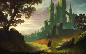 Picture landscape, horse, knight