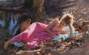 Picture girl, dress, art, barefoot, leaves, painting, artist, blonde, feet, Vicente Romero Redondo, painting art, bare …