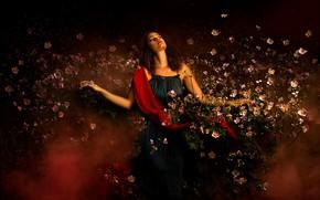 Picture girl, flowers, pose, mood, curls, anemones, closed eyes, Bella Kotak