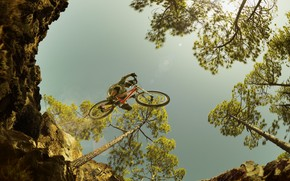 Picture the sky, trees, bike, abyss, flight