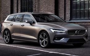 Picture car, machine, asphalt, the city, wall, lights, Volvo, drives, side, universal, V60, grey car, Volvo …