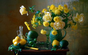 Picture flowers, style, roses, still life, vegetables, tomatoes, chrysanthemum, Мила Миронова