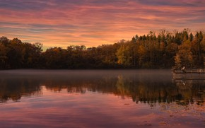 Picture autumn, forest, trees, sunset, Park, reflection, people, shore, the evening, pierce, pond