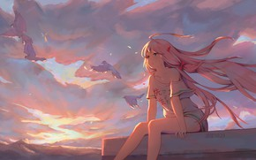 Picture roof, the sky, girl, birds, Kobayashi-san Chi no Maid Dragon, Carry Kamui