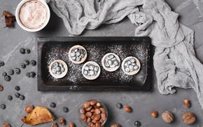 Picture berries, blueberries, Dessert, Nuts