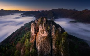 Picture clouds, landscape, sunset, mountains, nature, rocks, the evening, forest, Slovakia, National reserve, Суловские скалы, Sulov …